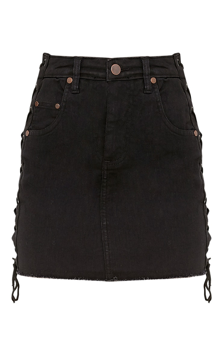 Petite Vada Black Lace Up Side Denim Mini Skirt 3