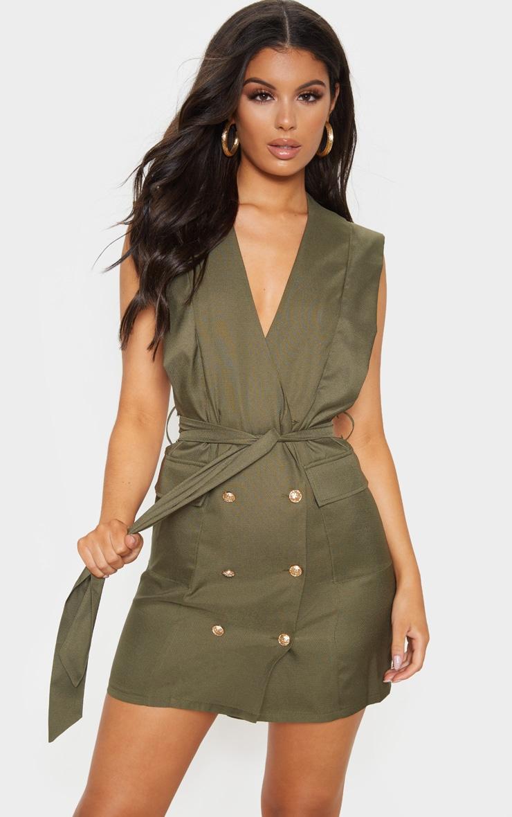 Khaki Sleeveless Gold Button Detail Blazer Dress 1