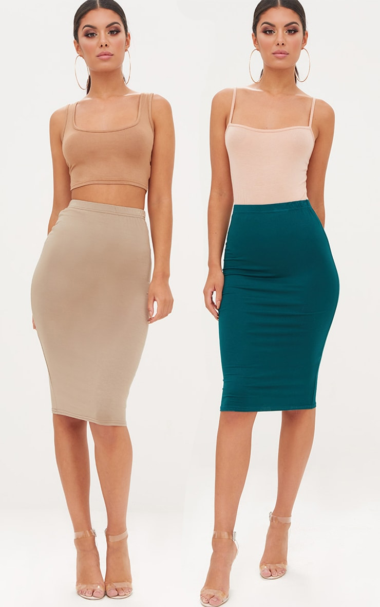 Taupe & Emerald Green 2 Pack Jersey Midi Skirt 1