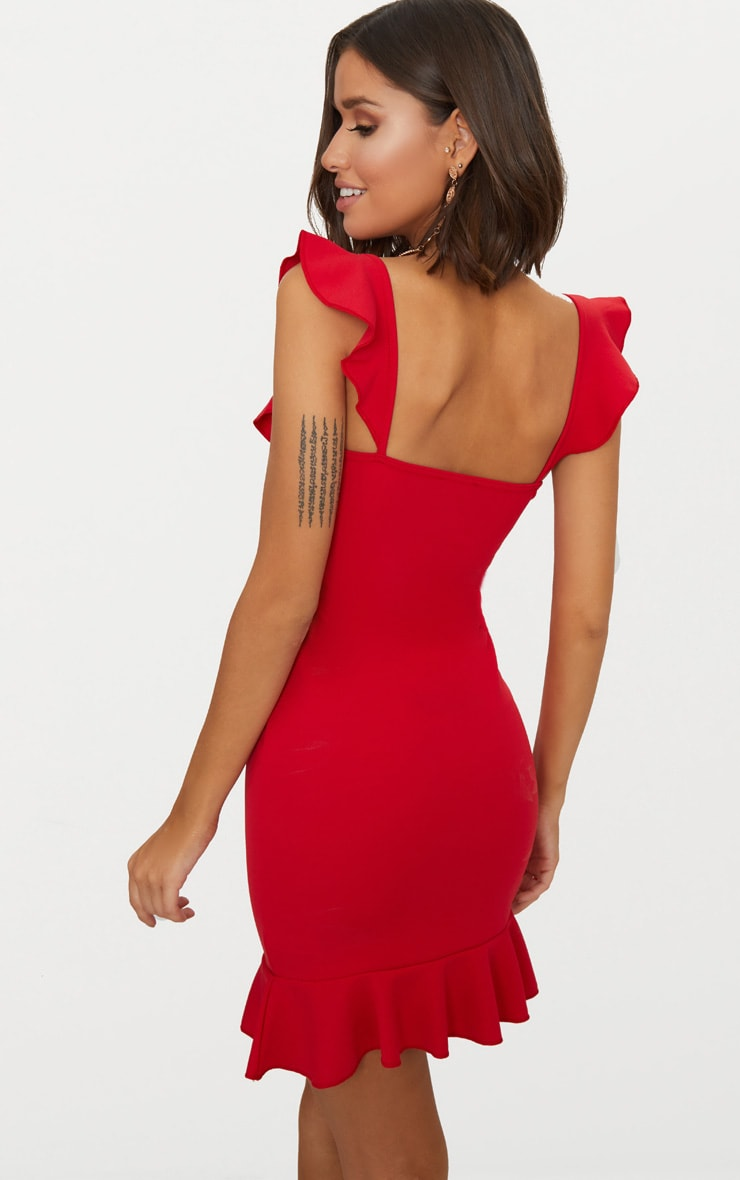 Red Frill Detail Bodycon Dress 2