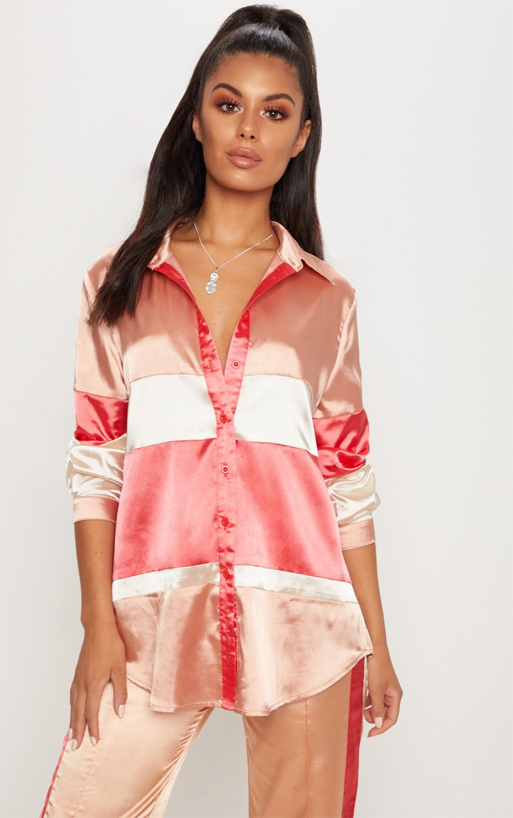 Peach Satin Colourblock Oversized Shirt 1