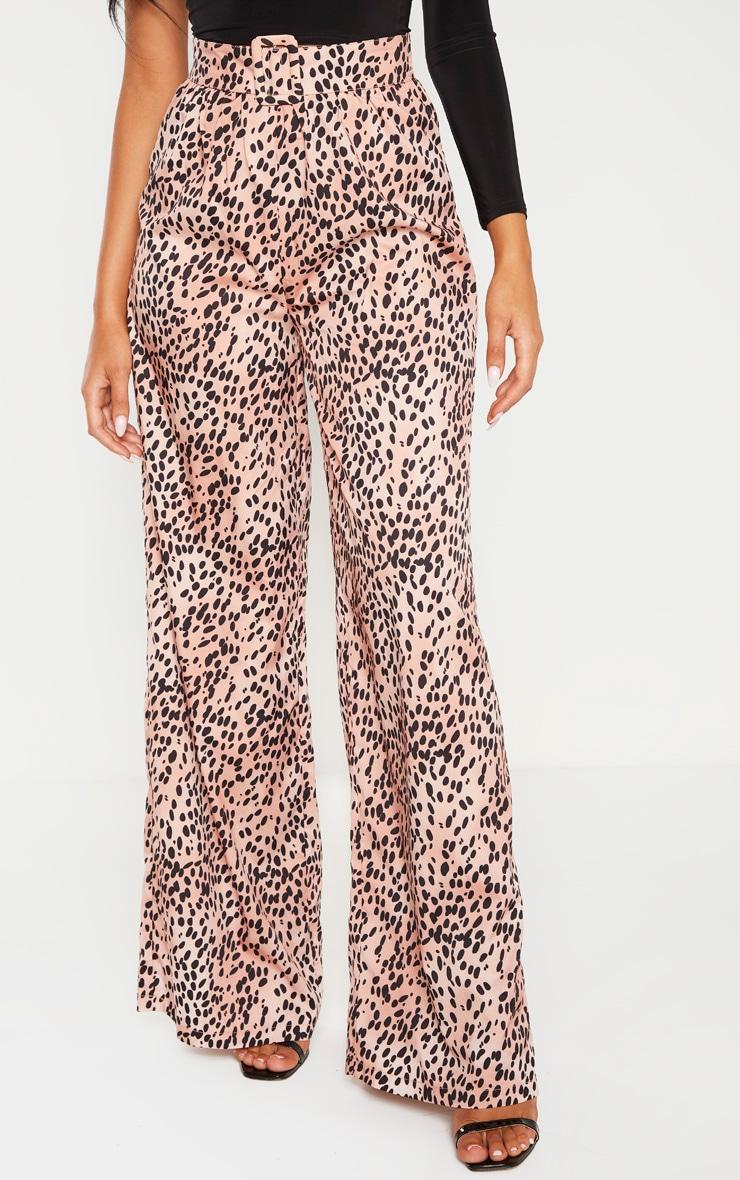 Tan Polka Dot Woven Belted Wide Leg Pants 2