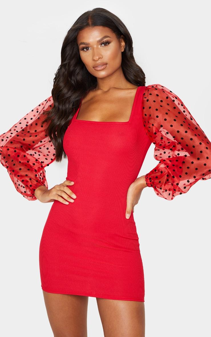 Red Polka Dot Organza Long Sleeve Square Neck Rib Bodycon Dress 1