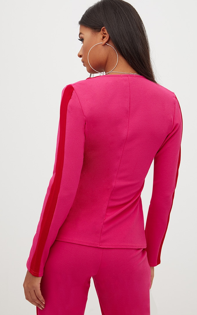 Hot Pink Contrast Panel Blazer 2