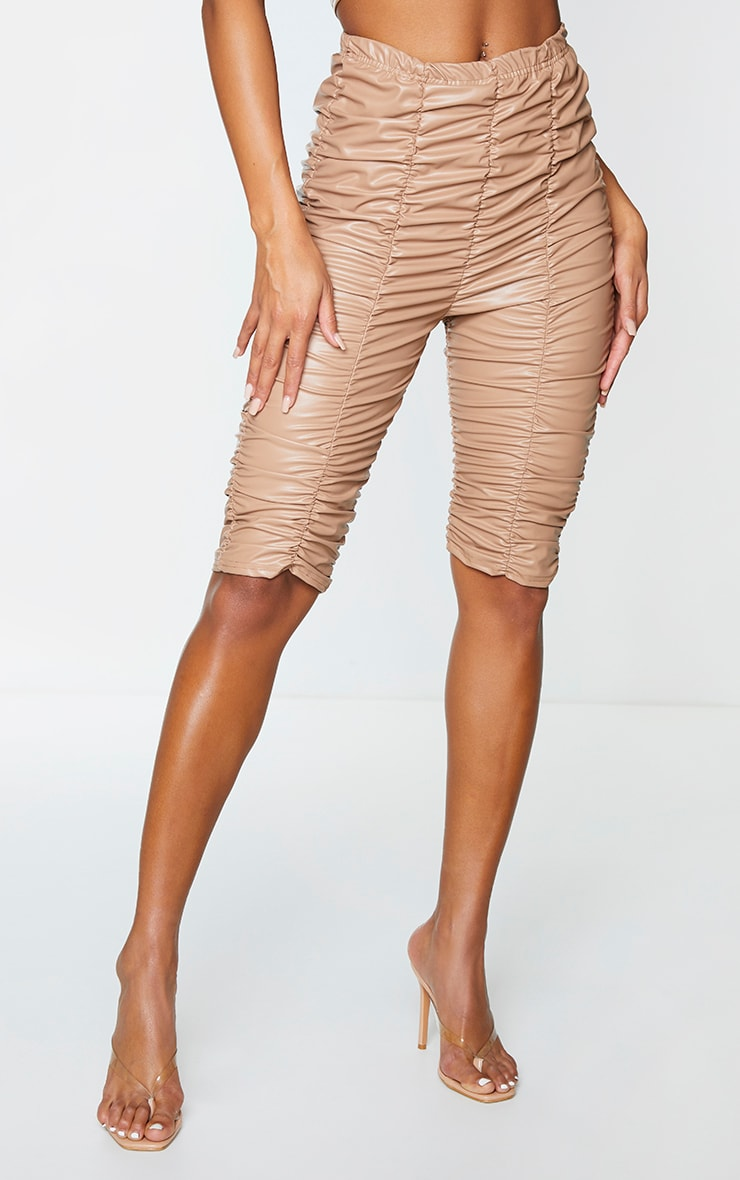 Camel Faux Leather Ruched Bike Short 2