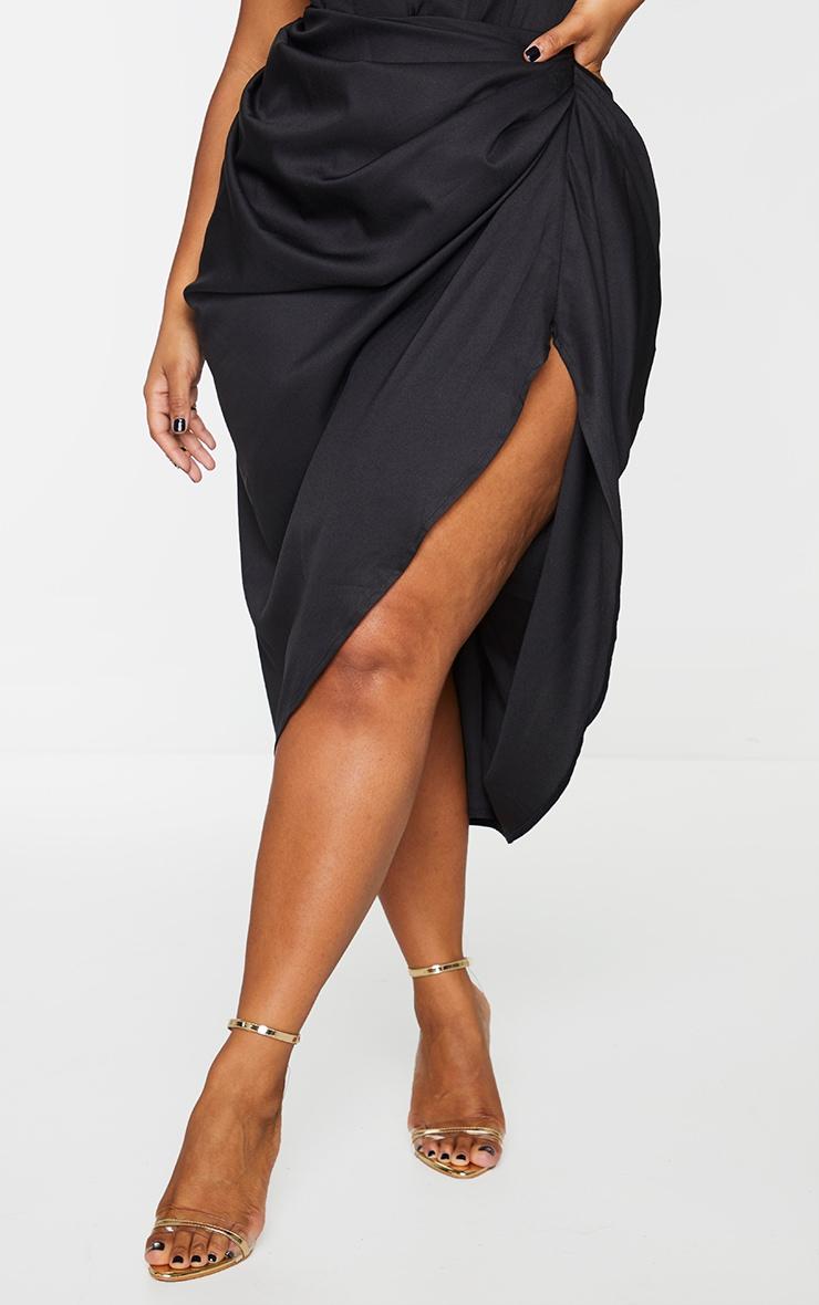 Plus Black Ruched Side Midi Skirt 2