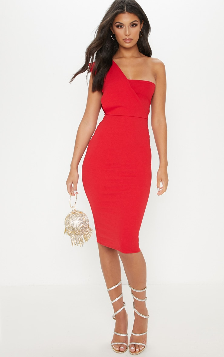 Red One Shoulder Draped Midi Dress 1