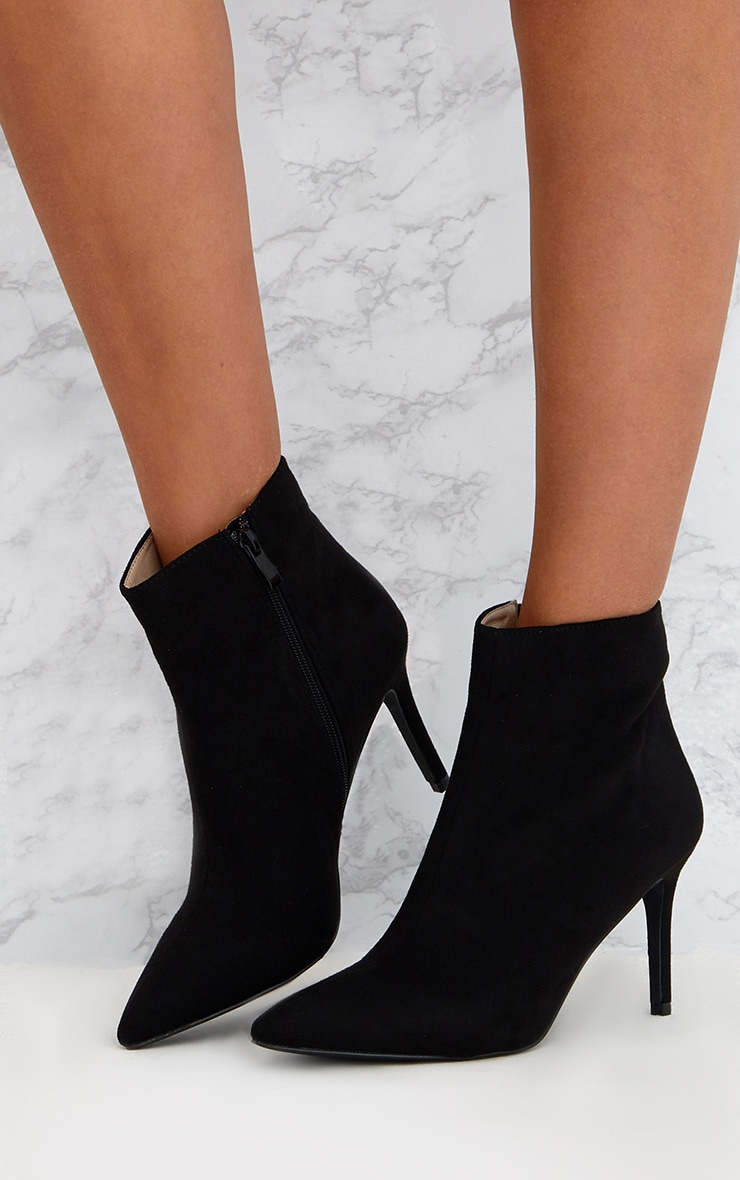Black Mid Heel Pointed Ankle Boots 2