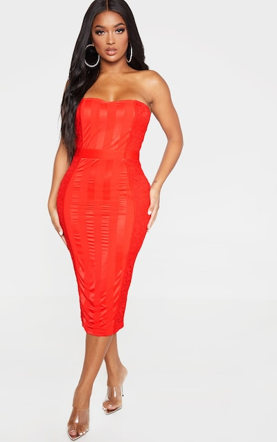 Shape Red Lace Mesh Stripe Bandeau Midi Dress