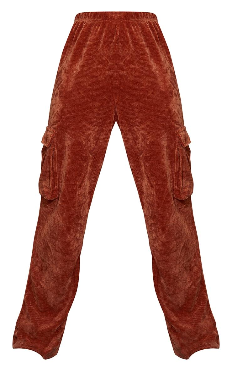 Rust Rib Velour Pocket Detail Wide Leg Pants 5