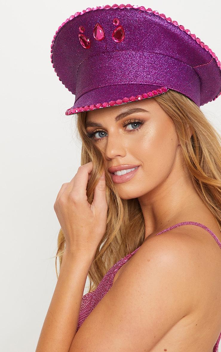 Purple Diamante Festival Captain Hat