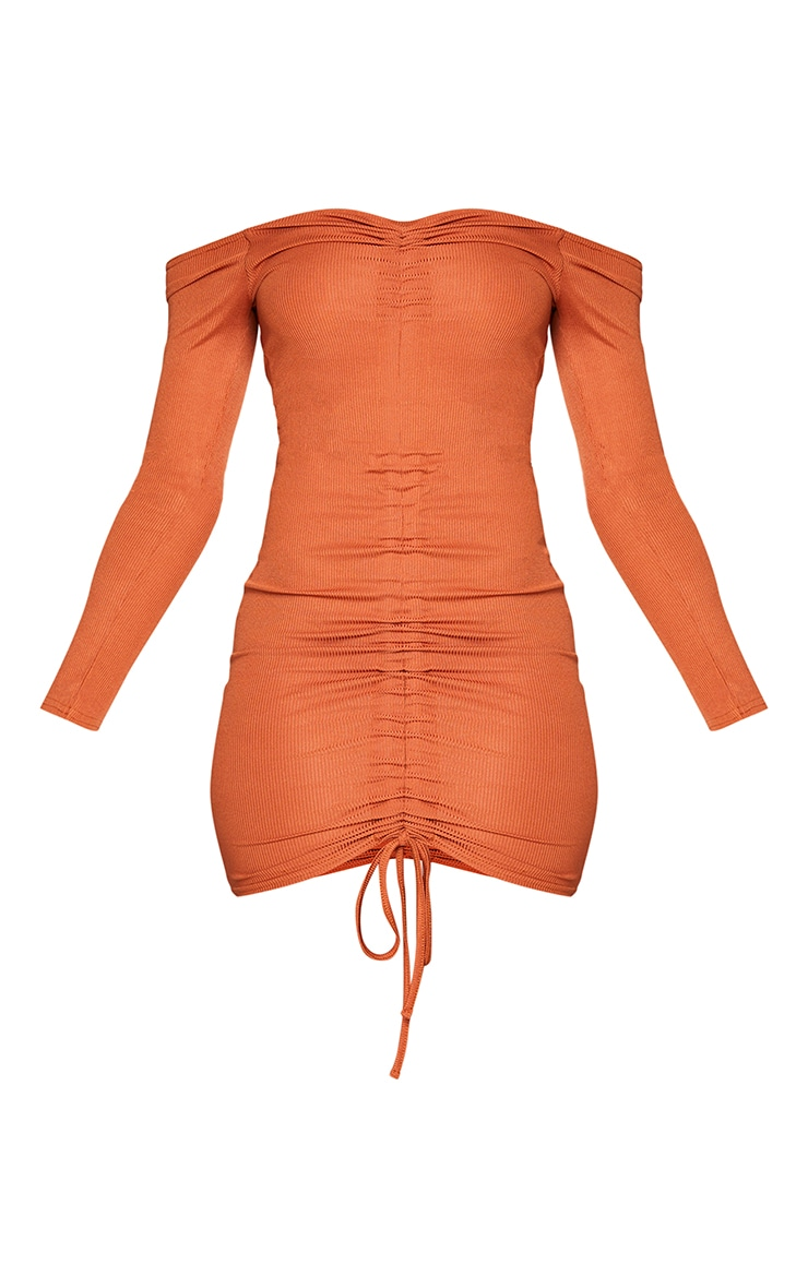 Rust Ribbed Long Sleeve Bardot Ruched Bodycon Dress 5