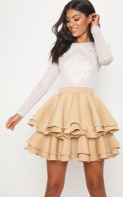 Nude Applique Detail Ruffle Tiered Skater Dress