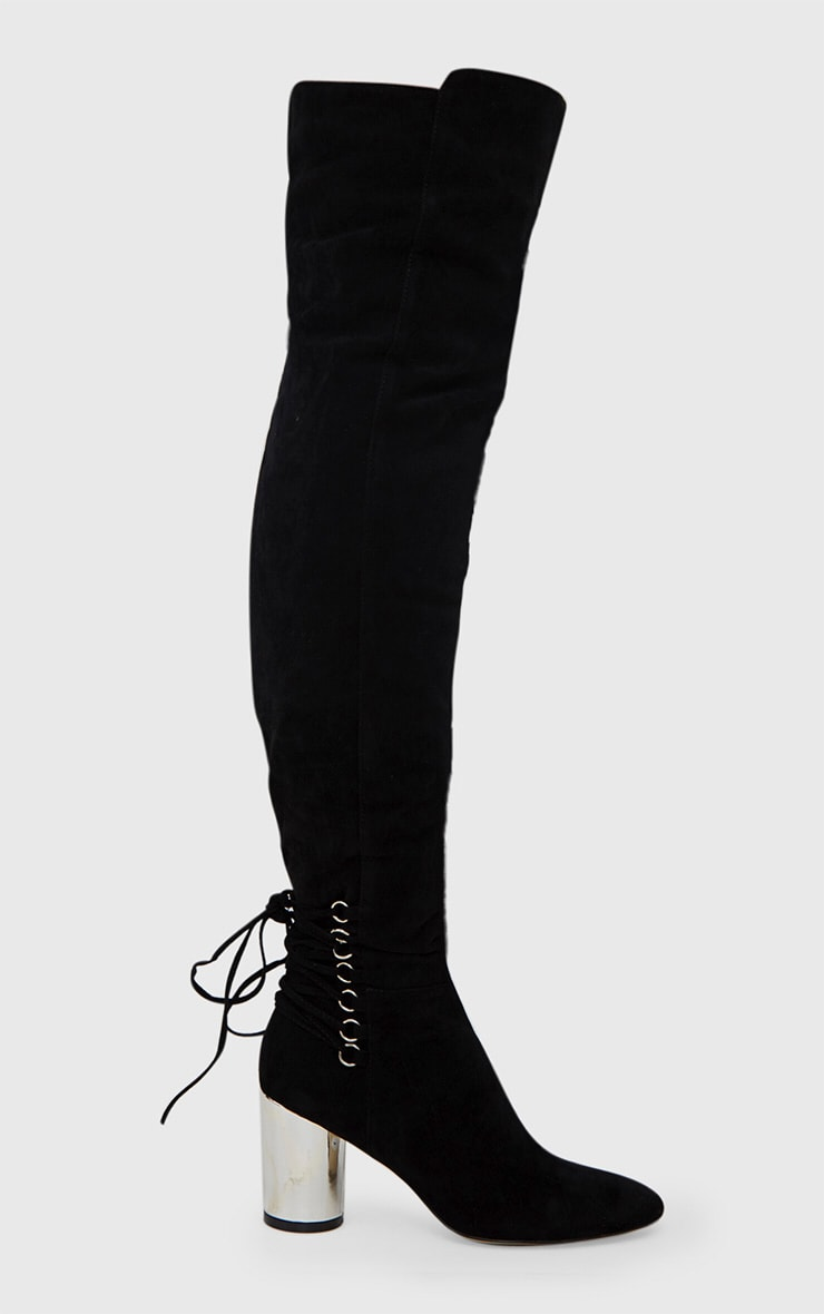 Black Lace Up Detail Faux Suede Thigh High Boots 3