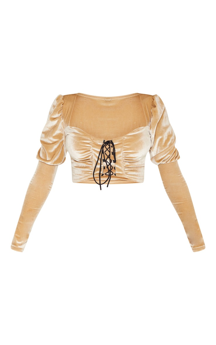 Champagne Velvet Hook And Eye Crop Top 3