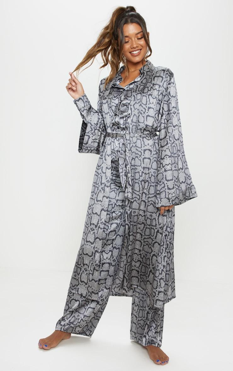 Monochrome Snake Print Long Sleeve Satin Robe 1
