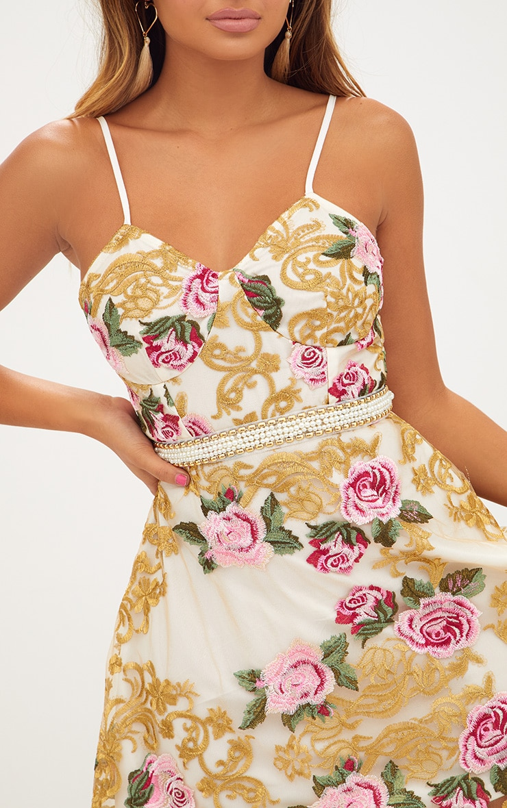 Premium White Embroidered Strappy Pearl Trim Skater Dress 6