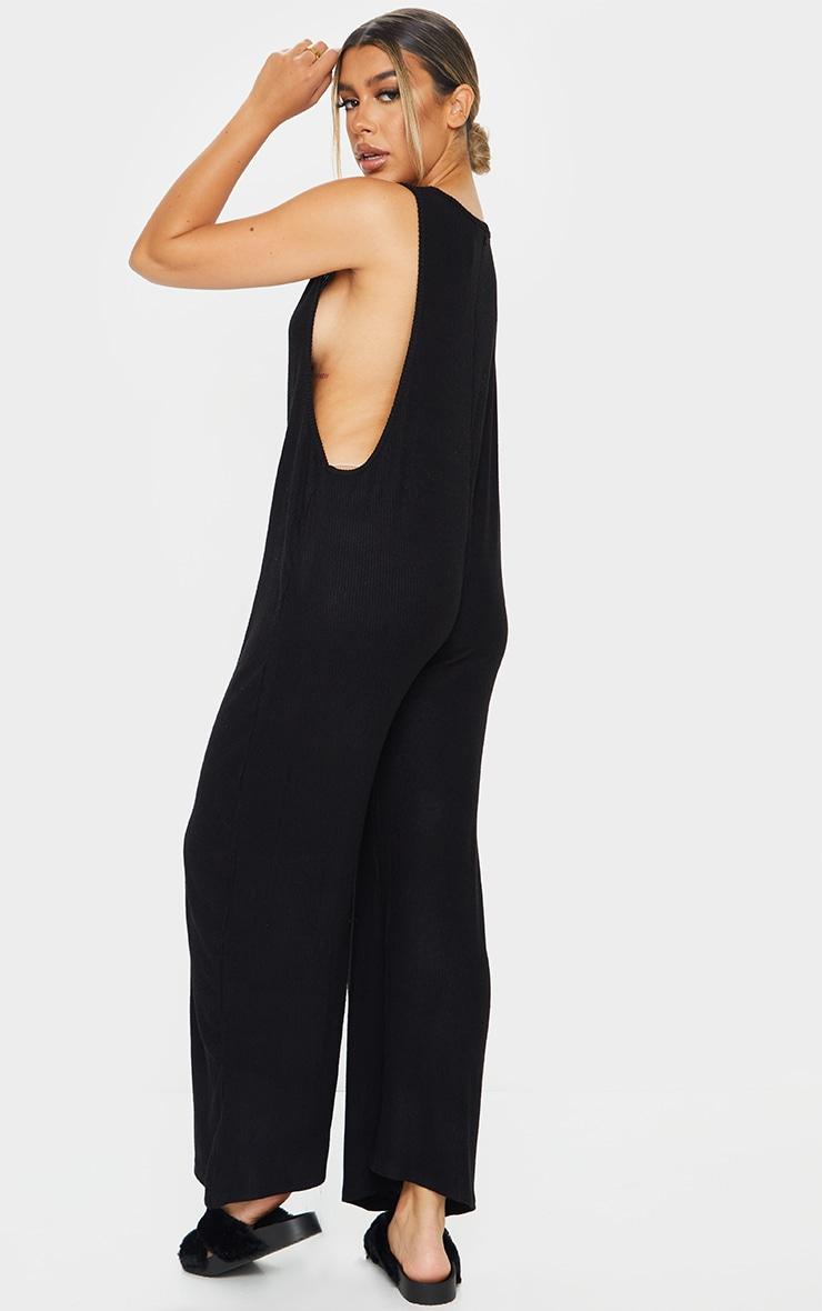 Black Brushed Rib Oversized Low Armhole Jumpsuit 2