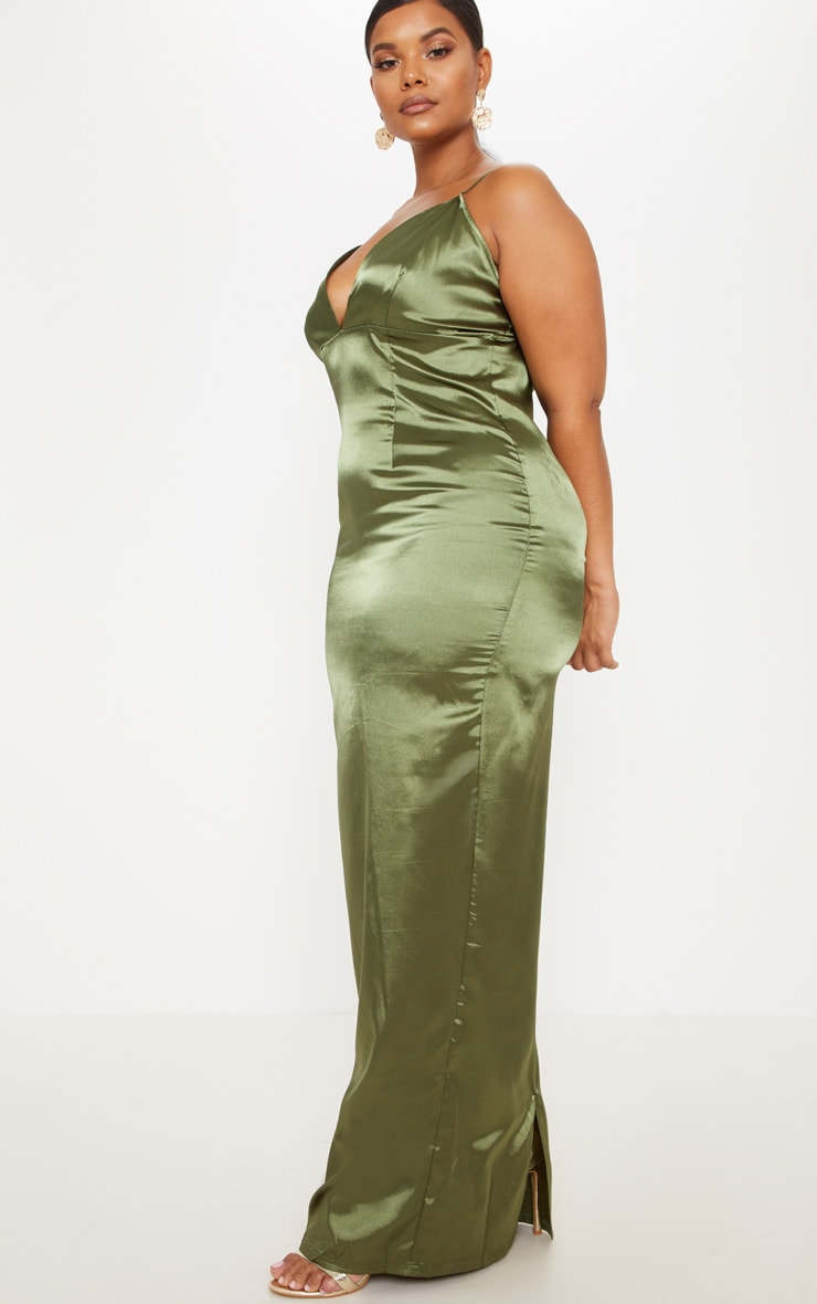 Plus Olive Green Satin Strappy Maxi Dress 4