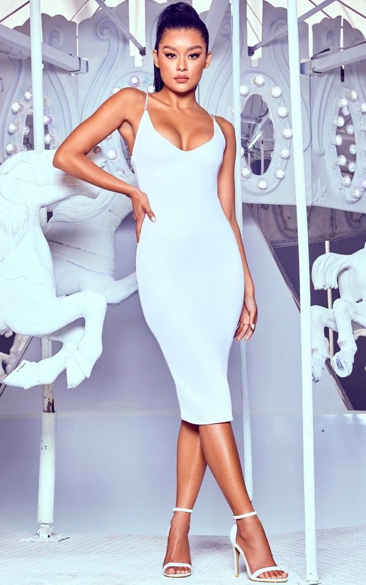 White Plunge Double Strap Midi Dress