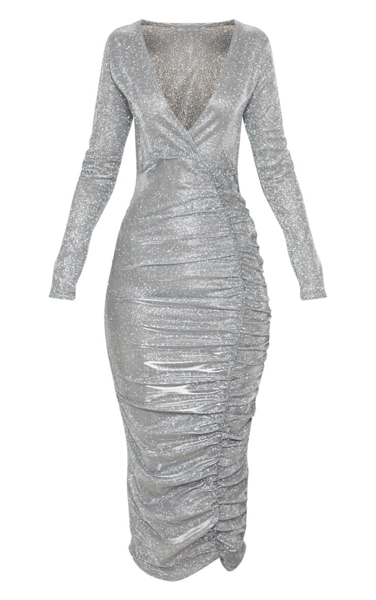 Silver Glitter Plunge Ruched Midi Dress 3