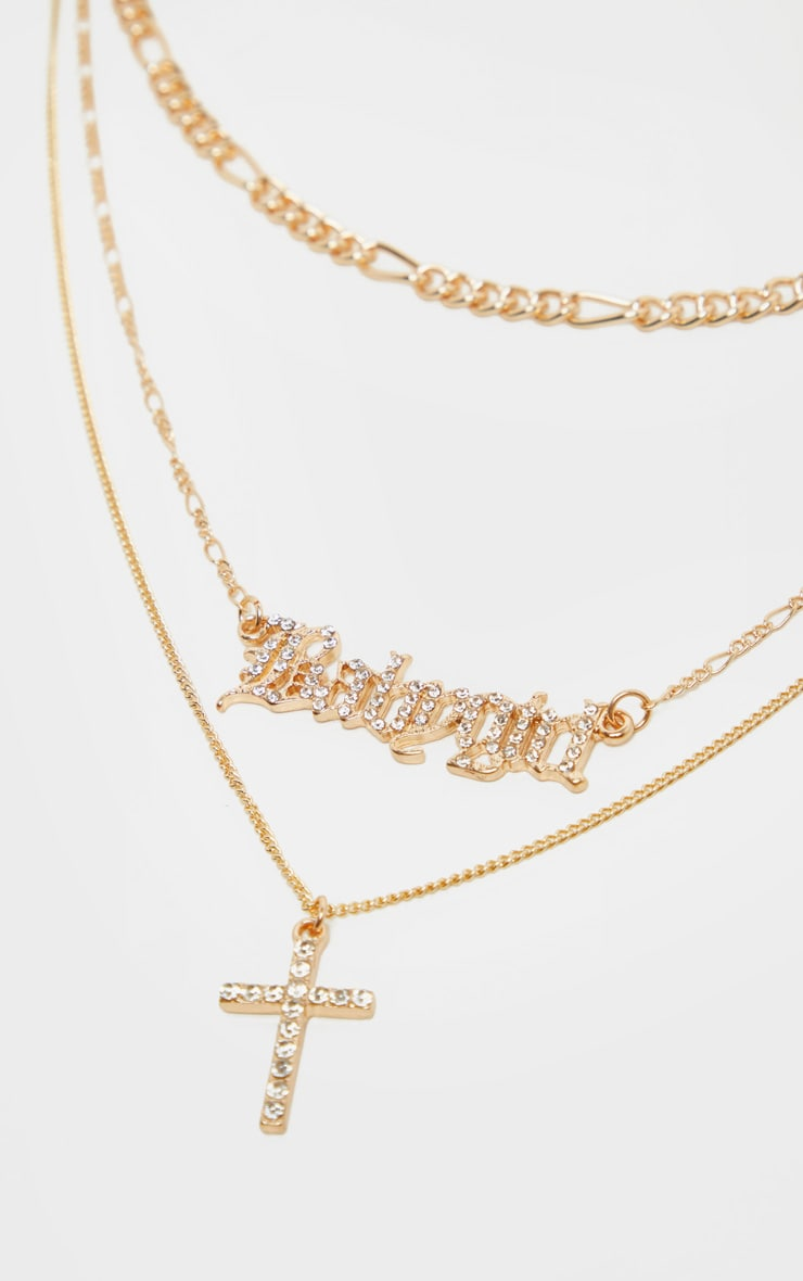 Gold Diamante Baby Girl And Cross Layering Necklace 3