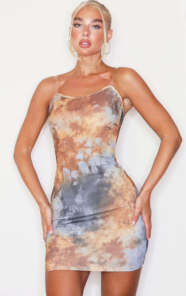 Multi Tie Dye Clear Strap Ribbed Scoop Back Bodycon Dress 1