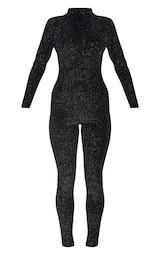 6a4072cdb2c8 Black Velvet Glitter Stripe Backless Jumpsuit image 3
