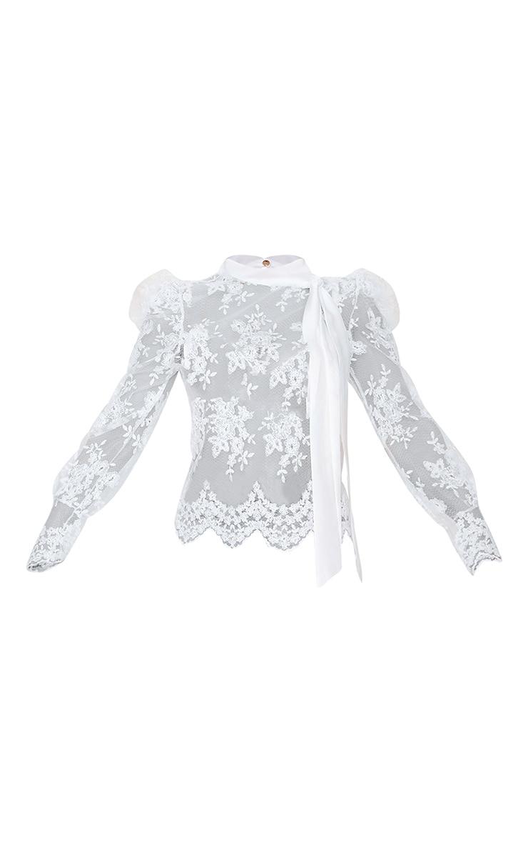 White Sheer Lace Pussy Bow Blouse 5