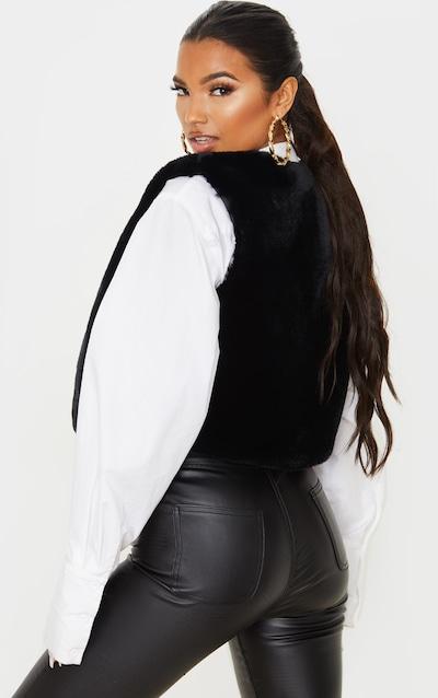 Black Faux Fur Crop Gilet