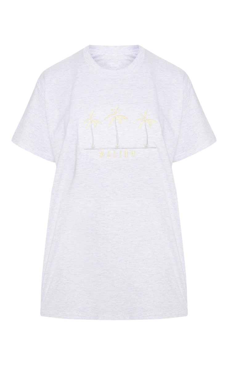 Ash Grey Malibu Embroidered Oversized T Shirt 3