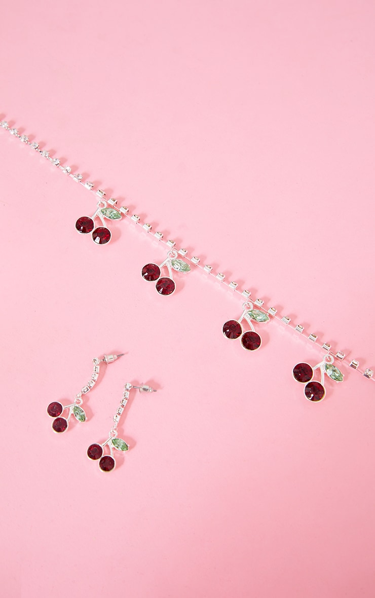 Silver Diamante Cherry Necklace 4