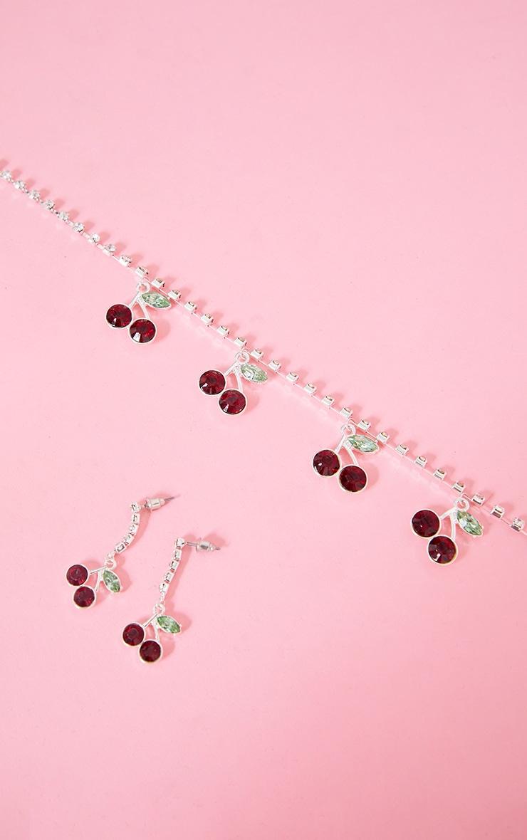 Silver Diamante Cherry Necklace 4