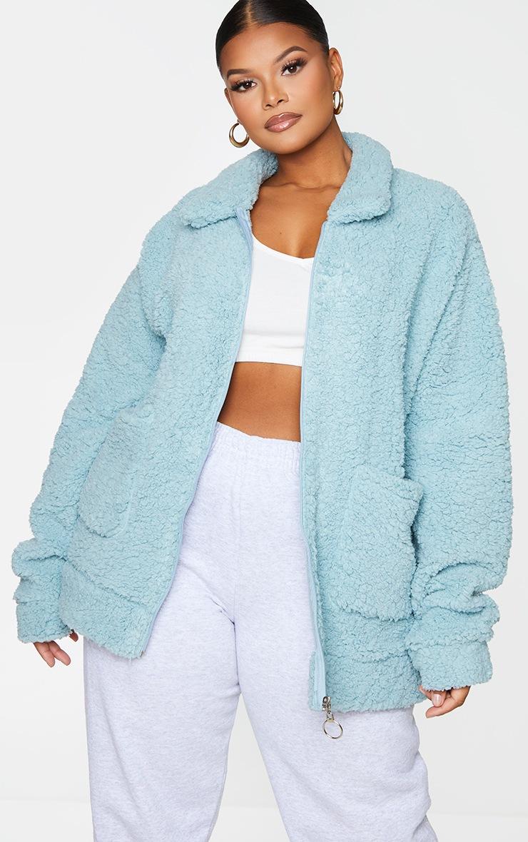 Plus Mint Teddy Pocket Front Oversized Jacket 3