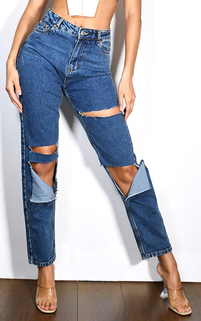 Mid Wash Slit Knee Straight Leg Jeans 2