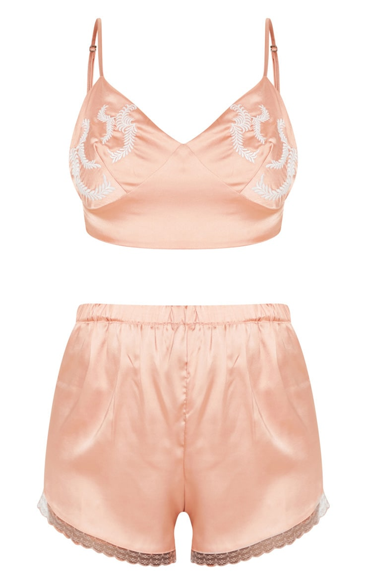 Peach Embroidered Bralet And Short Set 3