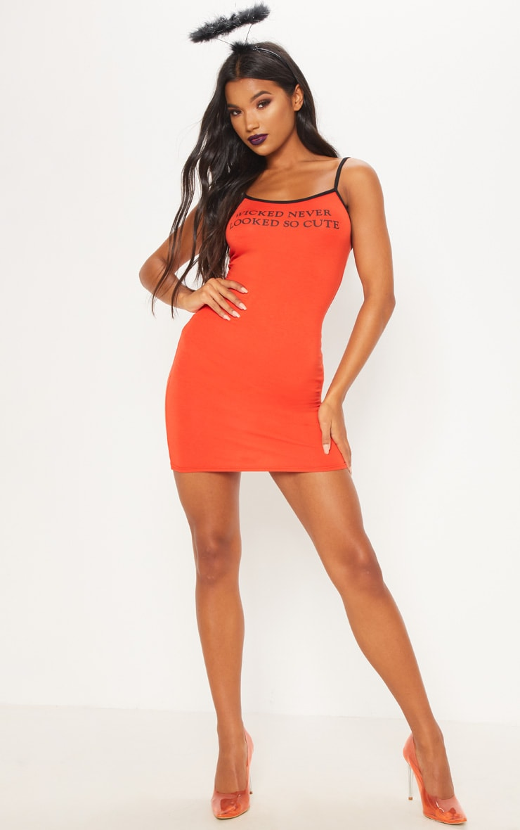 Orange Wicked Printed Bodycon Dress 4