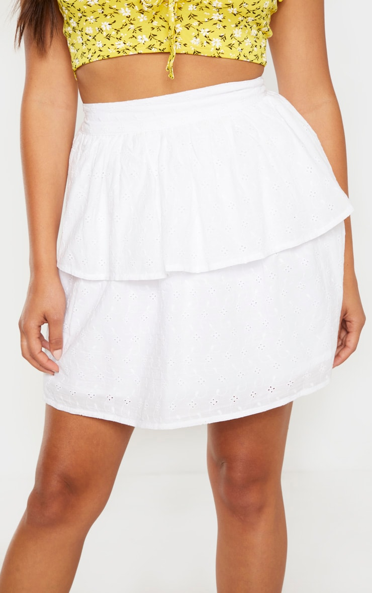 Petite White Frill Tiered Broderie Anglaise Skirt 6