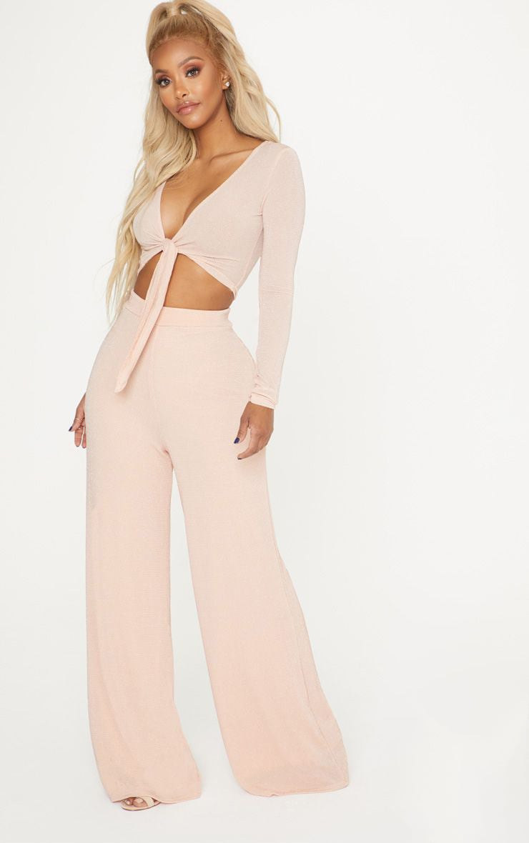 Shape Nude Glitter Wide Leg Trousers 1
