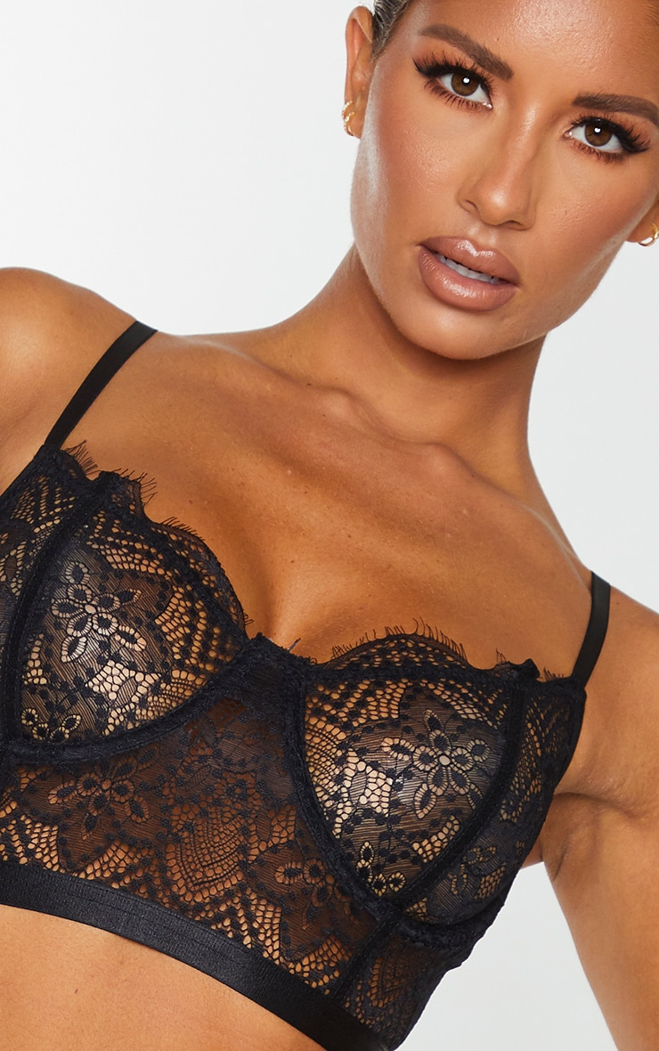 Black Underwired Longline Delicate Floral Lace Bra 4