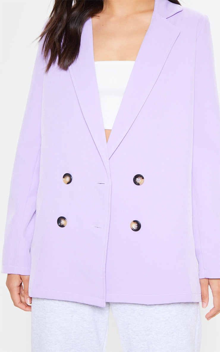 Lilac Oversized Button Detail Woven Blazer 5