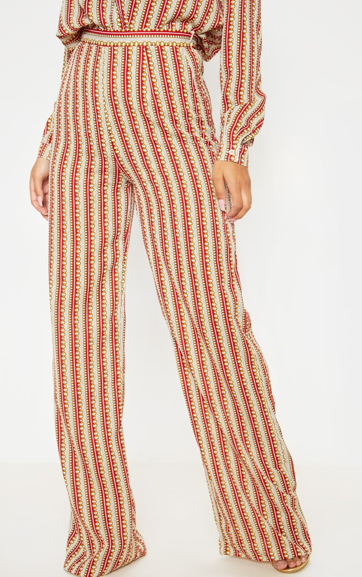 Red Chain Print Wide Leg Pants 2