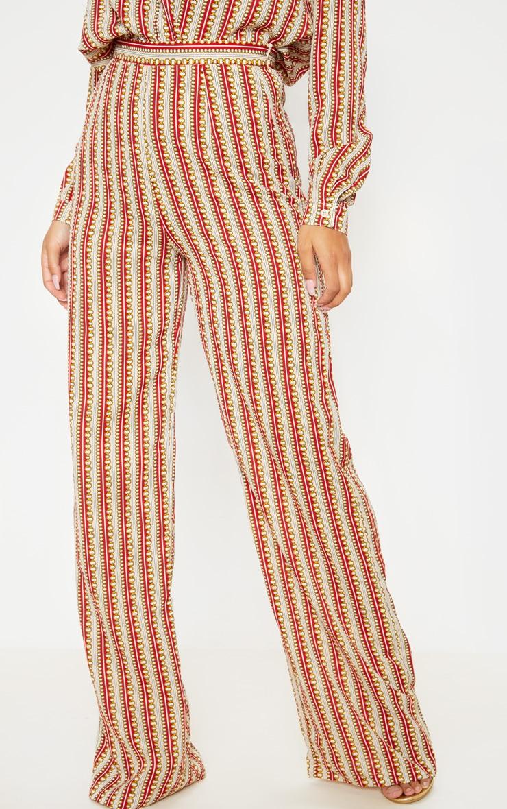 Pantalon ample à imprimé chaîne rouge  2