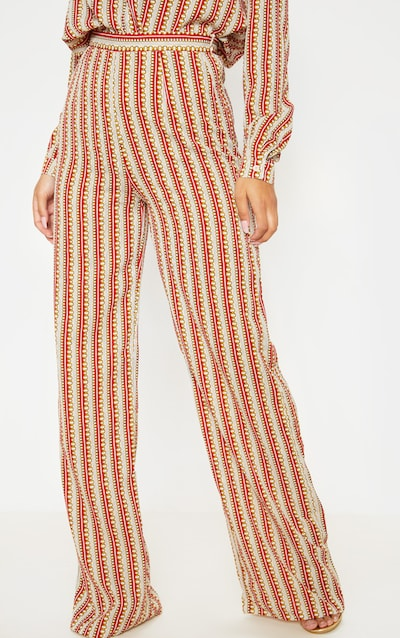 Red Chain Print Wide Leg Trouser