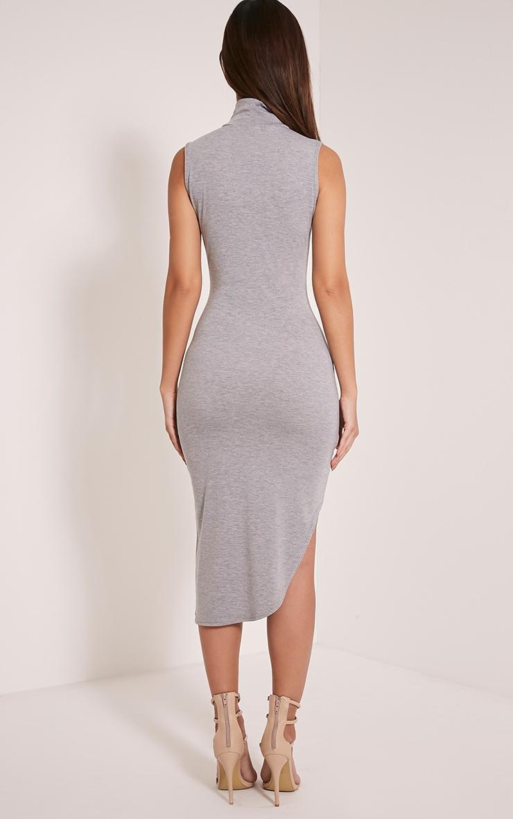 Pennie Grey Marl Curved Hem Sleeveless Midi Dress 2