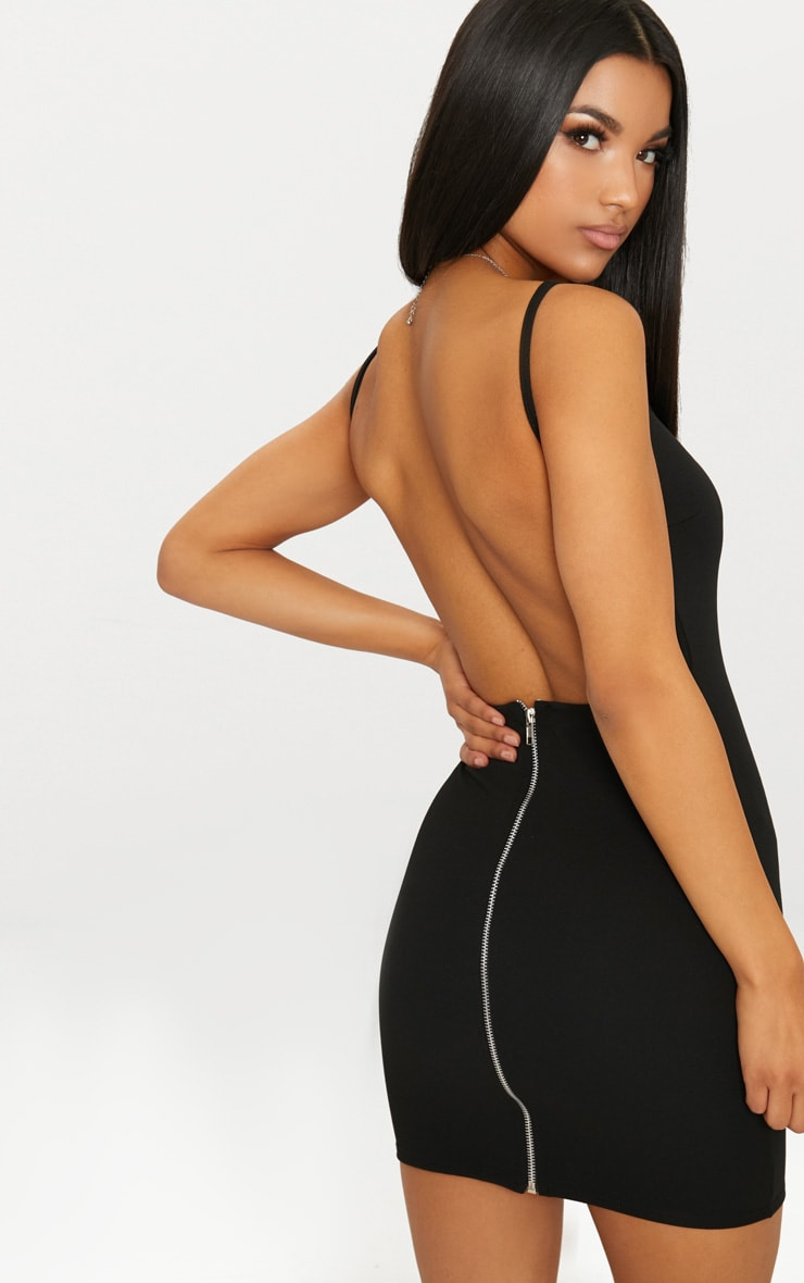 Black Zip Detail Low Back Strappy Bodycon Dress 1