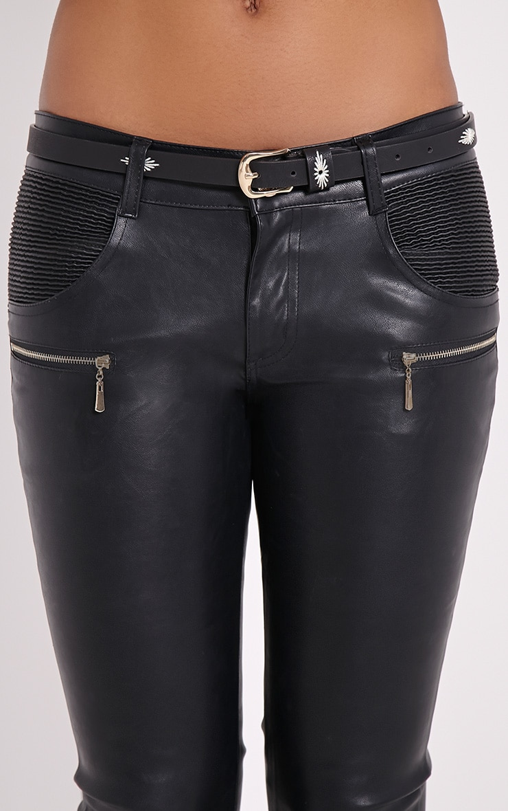 Nathalie Black Embroidered Skinny Belt 3