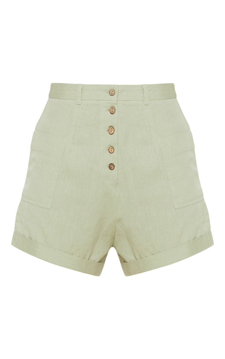 Sage Green Linen Feel Turn Up Hem Tailored Short  3