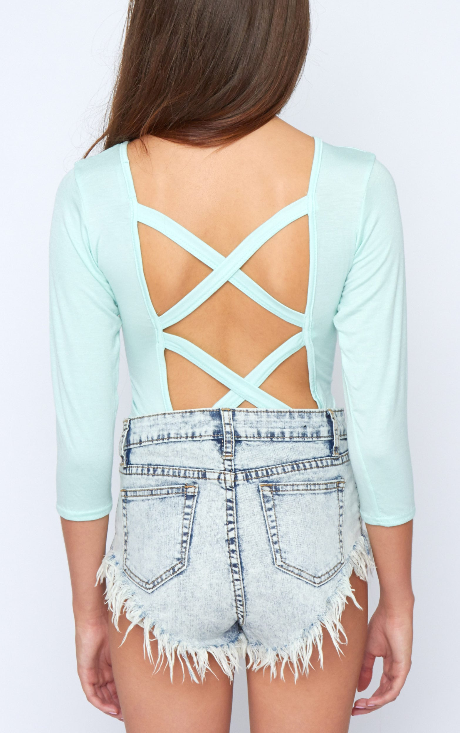 Kate Mint Cross Back Crop Top  2