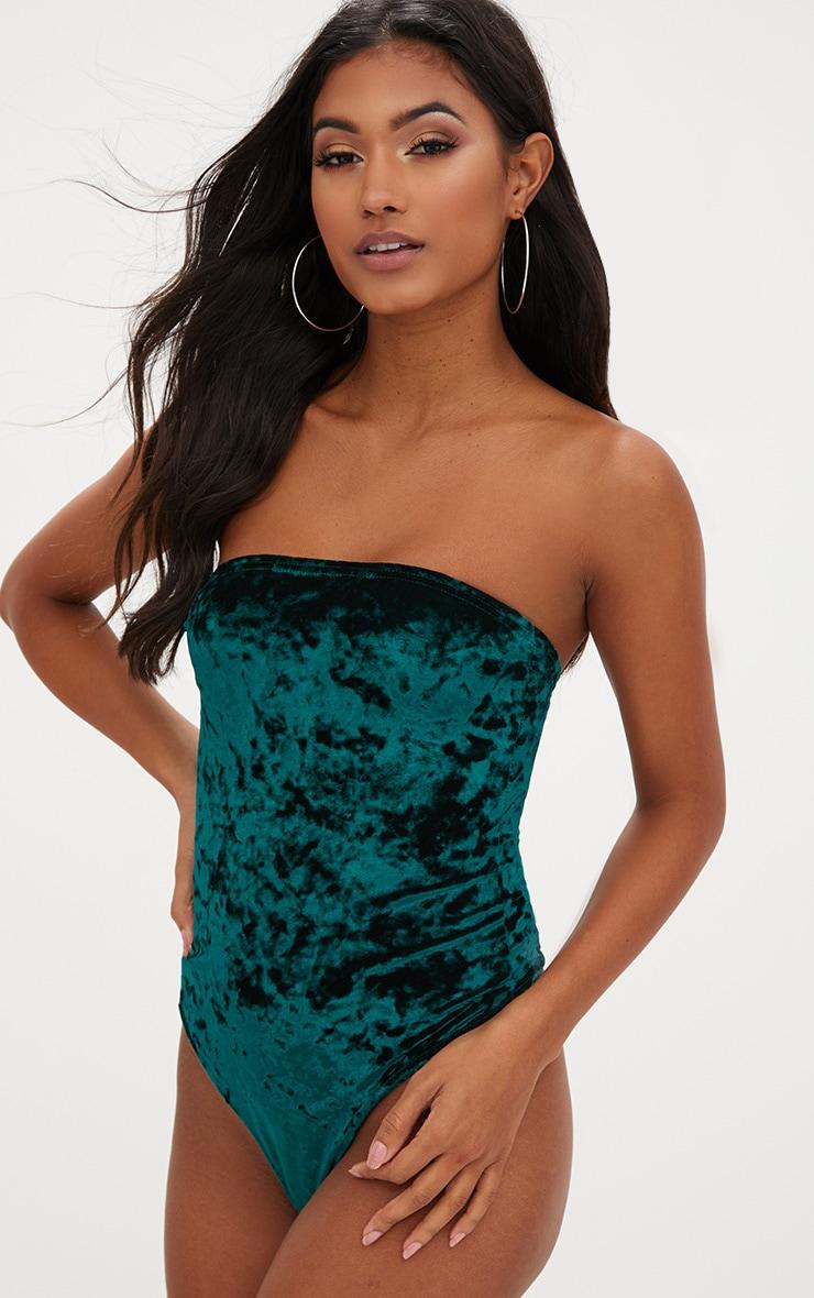 Emerald Crushed Velvet Bandeau Thong Bodysuit 2